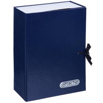 Папка архивная с завязками Attache, 100 мм, картон/<wbr>бумвинил, синий - Officedom (1)