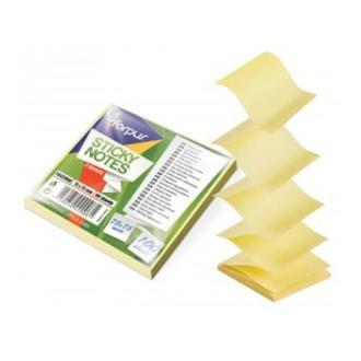 """Клейкие листки """" Z """" 75х75мм, 80л, неон. желтый - Officedom (1)"""