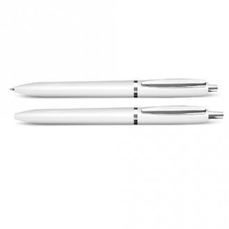 Ручка шариковая автомат. NN, 0,7 мм, метал. клип, корпус белый, синий - Officedom (1)