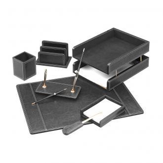 Настольный набор кожаный Forofis, 7 предметов, черный - Officedom (1)