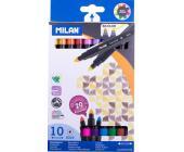 Фломастеры двухсторонние Milan, 10 цветов | OfficeDom.kz