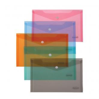Папка-конверт на кнопке Centrum, А4, 0,16 мм, прозрачно-розовый - Officedom (1)