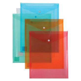 Папка-конверт на кнопке Centrum, вертикальный, А4, 0,16 мм, прозрачно-голубой - Officedom (1)