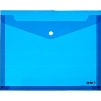Папка-конверт на кнопке Centrum, раздвигающийся, А4, 0,16 мм, прозрачно-голубой - Officedom (1)