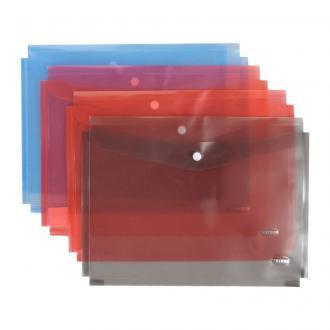 Папка-конверт на кнопке Centrum, раздвигающийся, А4, 0,16 мм, прозрачно-серый - Officedom (1)