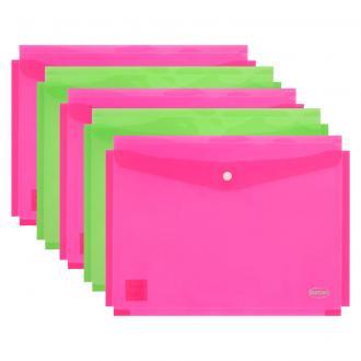 Папка-конверт на кнопке Centrum, раздвигающийся, А4, 0,16 мм, прозрачно-розовый - Officedom (1)