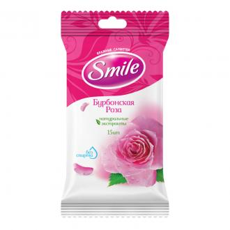 Салфетки влажные Smile Бурбонская Роза, 15 шт/<wbr>уп - Officedom (1)