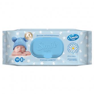 Салфетки влажные Smile Baby, с алоэ и ромашкой, с пластик. клапаном, 100 шт/<wbr>уп - Officedom (1)