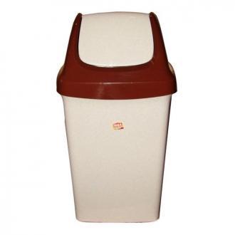 Бак для мусора с плав. крышкой Свинг, 9 л., беж. мрамор (М2461) - Officedom (1)