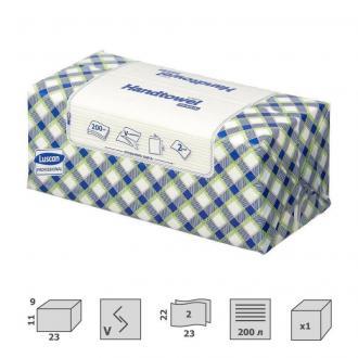 Полотенца листовые V-сложение 2 сл, 200 листов, 23 x 22см, белый, Luscan Professional - Officedom (1)