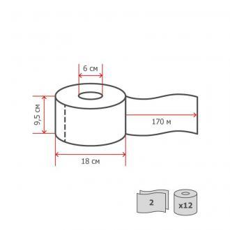 Бумага туалетная jumbo 2 слоя, 170 м, 12 рул/<wbr>уп, белый, Luscan Professional - Officedom (2)