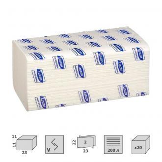 Полотенца листовые V-сложение, 2 сл, 200 листов, 22 x 23см, белый, Luscan Professional - Officedom (1)