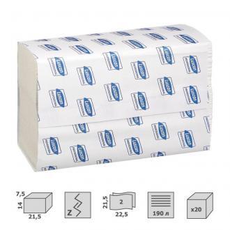 Полотенца листовые Z-сложение, 2 сл, 190 листов, 22,5 x 21,5см, белый, Luscan Professional - Officedom (1)