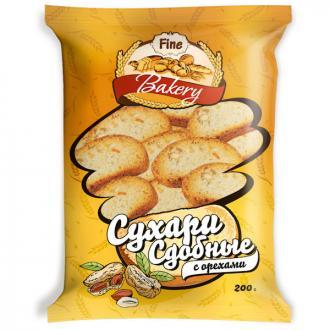 Сухари Fine Bakery сдобные с орехом, 200 г - Officedom (1)