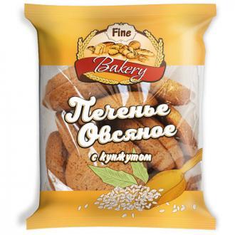 Печенье овсяное Fine Bakery с кунжутом, 350 г - Officedom (1)