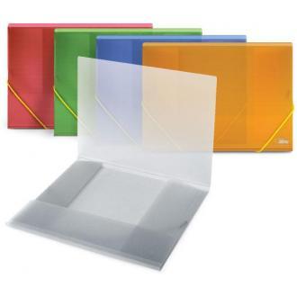 Папка для бумаг с резинками РР А4, прозр.-красный - Officedom (1)