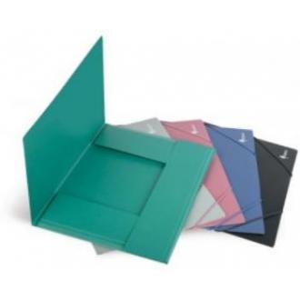 Папка для бумаг с резинками РР, А4, 0,45мм, черный - Officedom (1)