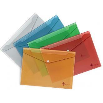 Папка-конверт на кнопке А4, РР, 1-100л., зелёный - Officedom (1)