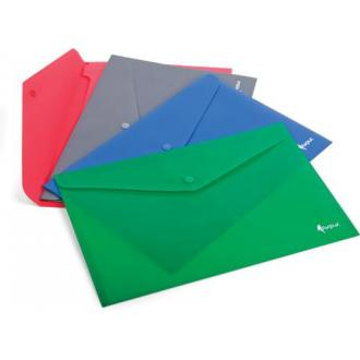 Папка-конверт на кнопке А4, PREMIER, 0,18мм, 100л., серый - Officedom (1)