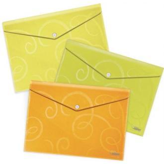 Папка-конверт на кнопке А4, Barocco, 1-80л., лайм - Officedom (1)