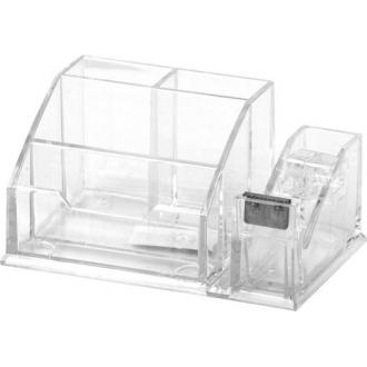 Органайзер настольный для канц. принадлежн., 4 отделения, с держателем для клейкой ленты, прозрач. - Officedom (1)