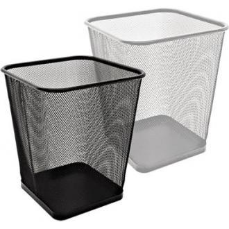Корзина для мусора квадратная, 28х28х30 см, метал., 12 л, серебристый - Officedom (1)