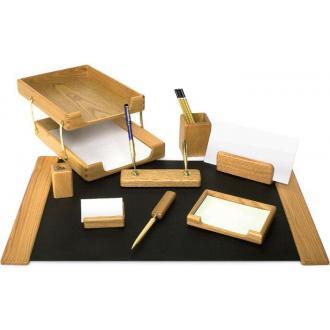 Настольный набор из дерева K9D-1 орех, 9 предметов - Officedom (1)