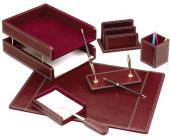 Настольный набор кожаный, 7 пред.,бордовый | OfficeDom.kz