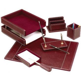 Настольный набор кожаный, 7 пред.,бордовый - Officedom (1)