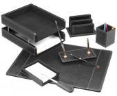 Настольный набор кожаный, 7 пред.,черный | OfficeDom.kz
