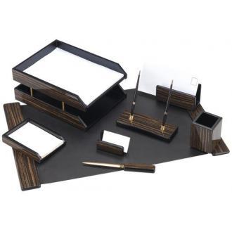 Настольный набор из дерева, 8 предметов, черное дерево - Officedom (1)