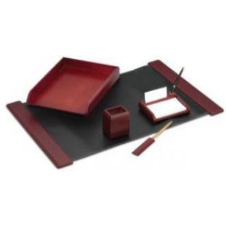Настольный набор из дерева, 5 предметов, красное дерево - Officedom (1)