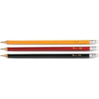 Карандаш простой НВ с ластиком заточенный, красный корпус - Officedom (1)