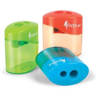 Точилка пластиковая двойная, с контейнером, ассорти - Officedom (1)