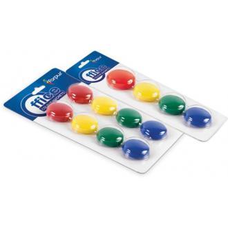 Набор магнитов d30 мм, 8шт, 4 цвета, ассорти - Officedom (1)