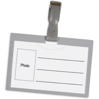 Бейдж горизонтальный с клипом, 54 х 90 мм, серый - Officedom (1)