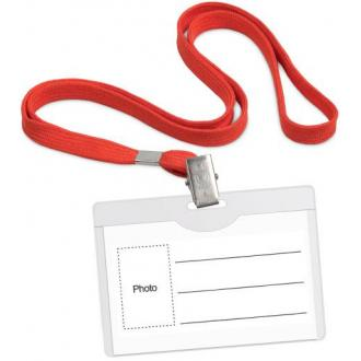 Бейдж горизонтальный, 54 х 90 мм, с красным шнурком, с металлич клипом, прозрачный - Officedom (1)