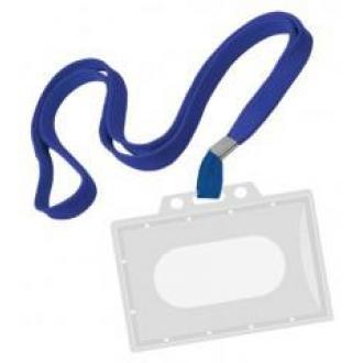 Бейдж горизонтальный, 54 х 90 мм, с синим шнурком, без клипа, жесткий, прозрачный - Officedom (1)