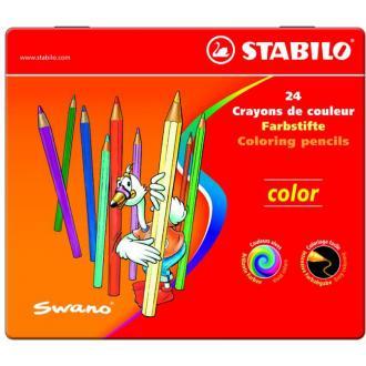 """Карандаши цветные наточенные Stabilo """"Color"""" 24 цв., металл. коробка (1812-24) - Officedom (1)"""