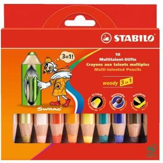 "Карандаши цветные наточенные Stabilo ""Woody 3 in 1"" 10 цв., карт. упак. (880/<wbr>10) - Officedom (1)"