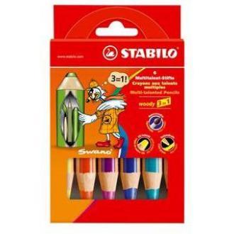 """Карандаши цветные наточенные Stabilo """"Woody 3 in 1"""" 6 цв., карт. упак. (8806) - Officedom (1)"""