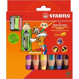 """Карандаши цветные наточенные Stabilo """"Woody 3 in 1"""" 6 цв., с точилкой, карт. упак. (8806-2) - Officedom (1)"""