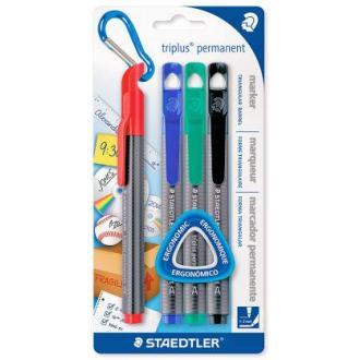 Набор перманентных маркеров Staedtler Triplus, 1-2 мм, черный, синий, красный, зеленый (3452-S BK4) - Officedom (1)