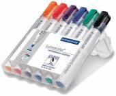 Набор маркеров для доски Staedtler Lumocolor 351, круглый, 2 мм, 6 цв. в пенале (351WP6) | OfficeDom.kz