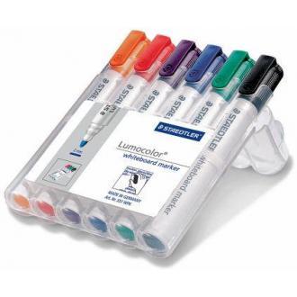 Набор маркеров для доски Staedtler Lumocolor 351, круглый, 2 мм, 6 цв. в пенале (351WP6) - Officedom (1)