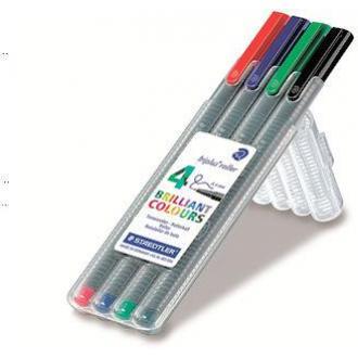 Набор роллерных ручек Staedtler Triplus, 0,4 мм, 4 цвета, в пенале (403SB4) - Officedom (1)
