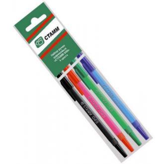 Набор шариковых ручек СТАММ 049 РШ07, 1 мм, 4 цв, корпус цветной, не прозрачный - Officedom (1)