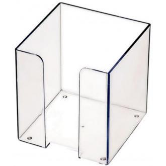 Подставка для блока бумаги СТАММ ПЛ41, 9х9х9, прозрачный - Officedom (1)