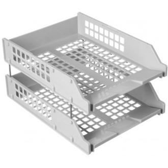Набор из 2-х горизонтальных лотков СТАММ STRONG ЛТ101, на металлических стержнях, серый - Officedom (1)