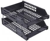 Набор из 2-х горизонтальных лотков СТАММ STRONG ЛТ102, на металлических стержнях, черный | OfficeDom.kz
